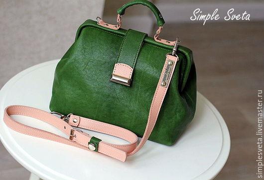 """Женские сумки ручной работы. Ярмарка Мастеров - ручная работа. Купить Саквояж """"Незабываемый"""". Handmade. Тёмно-зелёный, зеленый и персиковый"""
