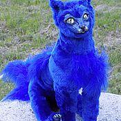 Куклы и игрушки ручной работы. Ярмарка Мастеров - ручная работа Синий кот, фэнтези котик, подвижная игрушка. Handmade.