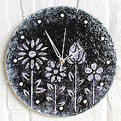 Для дома и интерьера handmade. Livemaster - original item Wall clock with the texture of Wild flowers. Handmade.