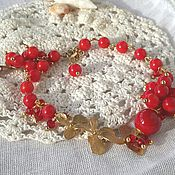 """Украшения ручной работы. Ярмарка Мастеров - ручная работа Браслет с кораллом """"Алая Орхидея"""". Handmade."""