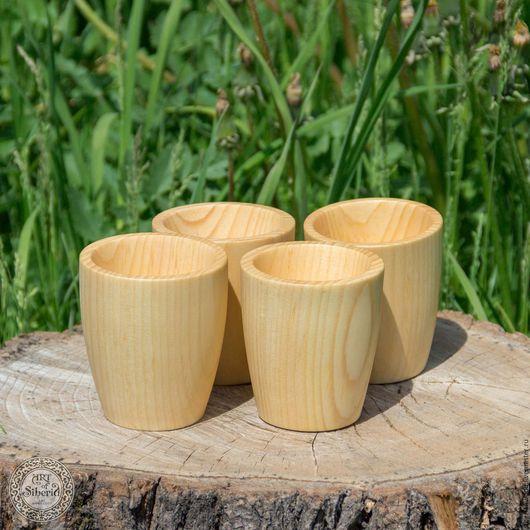 Кружки и чашки ручной работы. Ярмарка Мастеров - ручная работа. Купить Стаканы из сибирского кедра(набор4) для чая и др. Натуральный кедр СN1. Handmade.