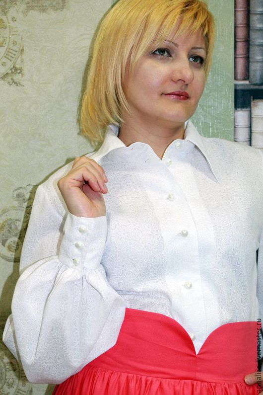 """Блузки ручной работы. Ярмарка Мастеров - ручная работа. Купить Белая блузка из батиста """"ОБЛАКО"""". Handmade. Блузка в офис"""