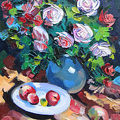 Картины и панно handmade. Livemaster - original item Oil painting on the motif of K. Korovin Roses. Gurzuf. Handmade.