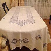 Русский стиль ручной работы. Ярмарка Мастеров - ручная работа Льняная скатерть ручной вышивки. Handmade.