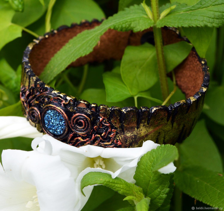 leather with titanium Druze, Cuff bracelet, Ekaterinburg,  Фото №1
