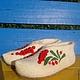 """Обувь ручной работы. Тапочки """"  красная смородина"""". Гулия. Интернет-магазин Ярмарка Мастеров. Тапочки, тапочки из войлока"""