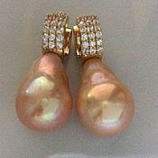 """Украшения ручной работы. Ярмарка Мастеров - ручная работа """"Golden pearl""""серебро серьги. Handmade."""