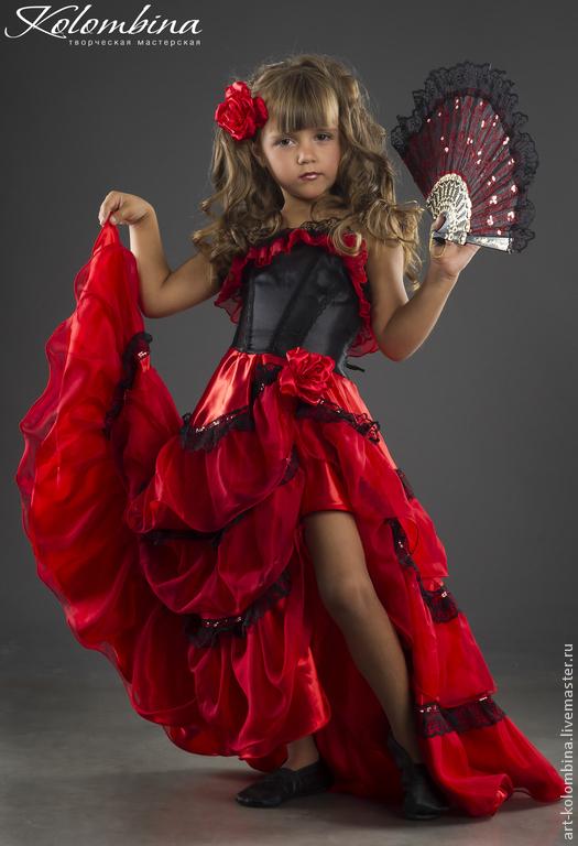 Детские карнавальные костюмы ручной работы. Ярмарка Мастеров - ручная работа. Купить костюм Кармен, Испанка. Handmade. Ярко-красный