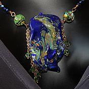 Украшения handmade. Livemaster - original item Necklace with outer bead lampwork gold plated Light vortex. Handmade.