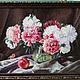 Картины цветов ручной работы. Ярмарка Мастеров - ручная работа. Купить прекрасные пионы. Handmade. Красный, серый
