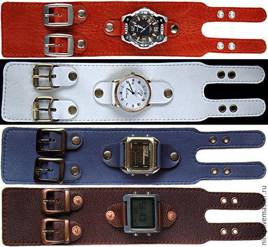 Браслеты ручной работы. Ярмарка Мастеров - ручная работа. Купить кожаные браслеты с 2-мя пряжками для часов. Handmade. Часы