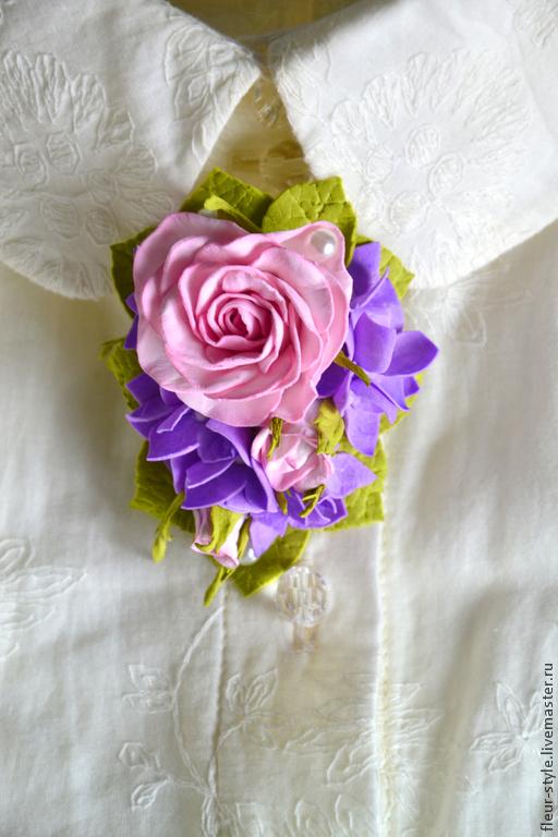 Броши ручной работы. Ярмарка Мастеров - ручная работа. Купить Брошь с розой и гортензией. Handmade. Разноцветный, гортензия