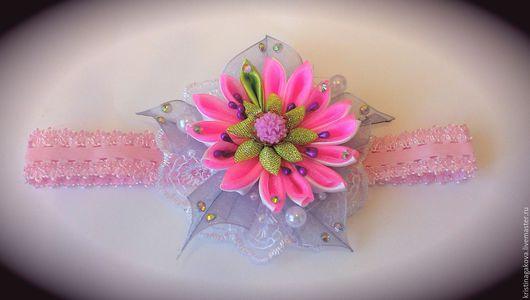 Цветы ручной работы. Ярмарка Мастеров - ручная работа. Купить Повязка на голову для девочек. Handmade. Розовый, повязка, резинка, цветок