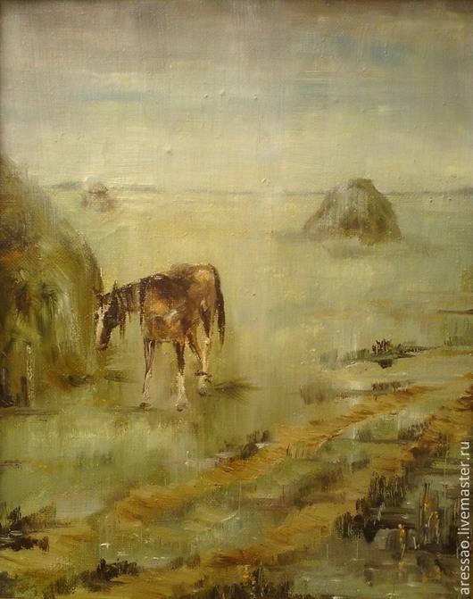 Работа `Мокрая лошадь`  х/м, 46х36, 1989, реализм, была написана очень давно, участвовала во многих выставках, принадлежит коллекции автора и, по словам коллег-художников, является `лицом автора`;)))