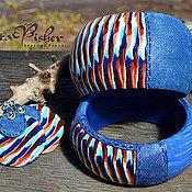Украшения ручной работы. Ярмарка Мастеров - ручная работа браслет широкий из полимерной глины Джинсовое море. Handmade.