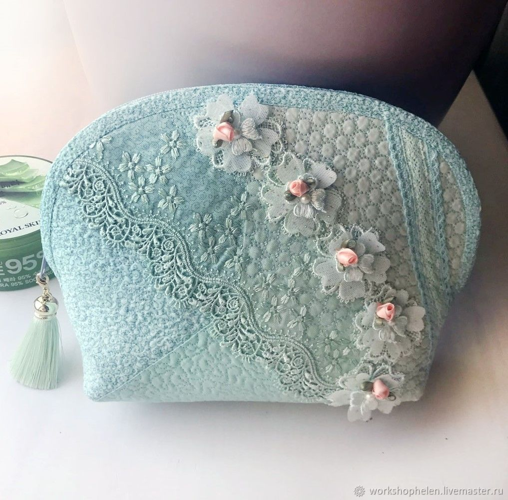 Mint cosmetic bag with silk brush, Beauticians, Volgorechensk,  Фото №1