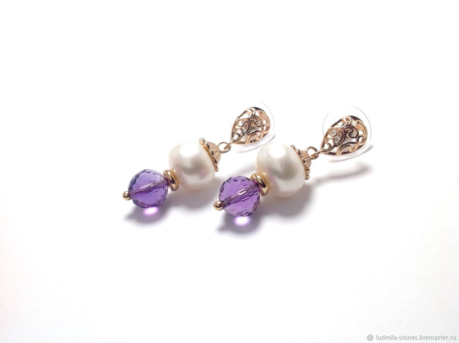 Gold plated earrings with pearl and ametrine 'holiday Gift', Earrings, Moscow,  Фото №1