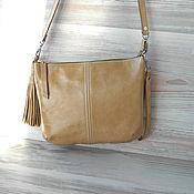 Классическая сумка ручной работы. Ярмарка Мастеров - ручная работа Кожаная сумка на плечо. Песочный,бежевый,горчичный. Handmade.