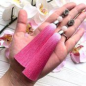 Украшения ручной работы. Ярмарка Мастеров - ручная работа Серьги-кисти Delicious pink розовые зефирные ярко-розовые. Handmade.