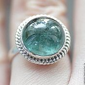 Rings handmade. Livemaster - original item Silver ring with tourmaline indicolite Sea. Handmade.