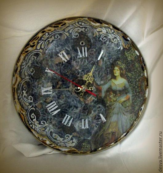 """Часы для дома ручной работы. Ярмарка Мастеров - ручная работа. Купить стеклянные настенные часы """"Девичьи грёзы"""". Handmade. Разноцветный"""
