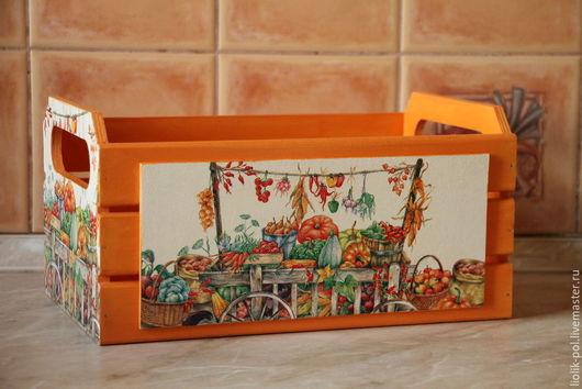 """Корзины, коробы ручной работы. Ярмарка Мастеров - ручная работа. Купить Короб-ящик """"Урожай удался!""""(большой). Handmade. Оранжевый"""