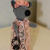 Куклы и игрушки handmade. Livemaster - original item Mouse in nightgown knitted. Handmade.