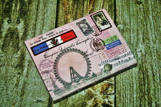Блокноты ручной работы. Ярмарка Мастеров - ручная работа. Купить Блок для записей блокнотик в винтажном стиле Париж. Handmade. Розовый