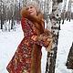 """Верхняя одежда ручной работы. Зимнее пальто """" Ярославна """".. Алёна. Ярмарка Мастеров. Лиса-огневка, павловопосадские платки"""