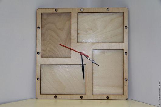 Часы для дома ручной работы. Ярмарка Мастеров - ручная работа. Купить Часы настенные -  Рамка для 4 фотографий. Handmade. Серый