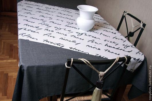 Текстиль, ковры ручной работы. Ярмарка Мастеров - ручная работа. Купить Скатерть Текст. Handmade. Белый, чёрно-белый, скатерть
