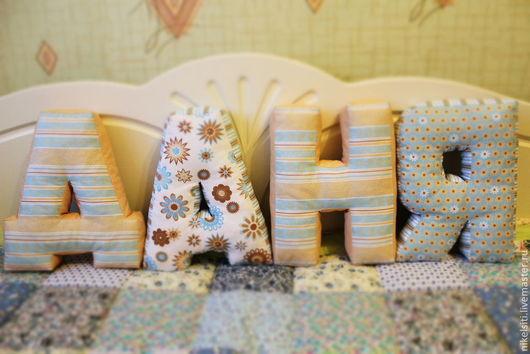 Интерьерные слова ручной работы. Ярмарка Мастеров - ручная работа. Купить мягкие буквы подушки. Handmade. Разноцветный, подушка