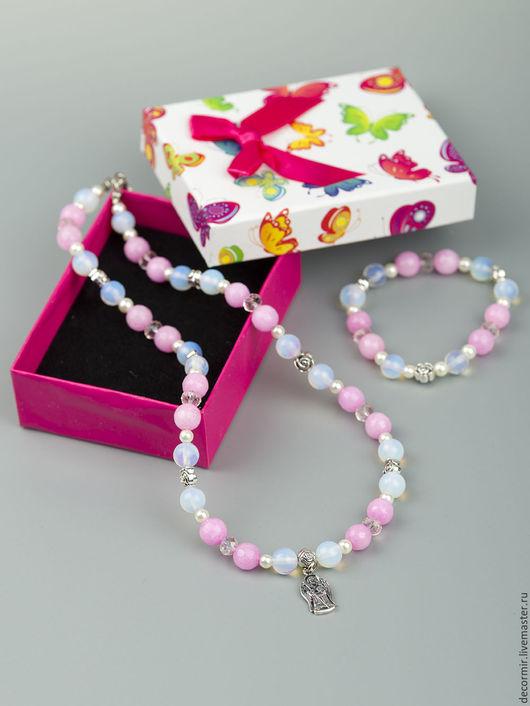 Детская бижутерия ручной работы. Ярмарка Мастеров - ручная работа. Купить Комплект для девочек: Колье и браслет. Handmade. Розовый