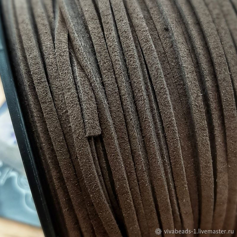 Suede cord (suit.) 3 mm brown (4019), Cords, Voronezh,  Фото №1