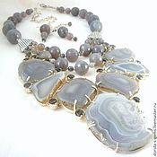 Украшения handmade. Livemaster - original item NECKLACE 3 strands + EARRINGS grey AGATE, AGATE slices beads (SOLD).. Handmade.