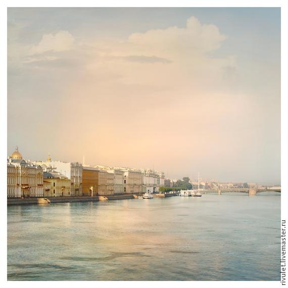 Картина для интерьера Санкт-Петербург городской пейзаж с водой - «Утро Дворцовой набережной». Елена Ануфриева