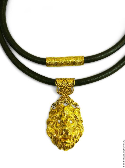 """Украшения для мужчин, ручной работы. Ярмарка Мастеров - ручная работа. Купить Подвеска """"Лев"""" из золота жёлтого 585 пробы с бриллиантами. Handmade."""