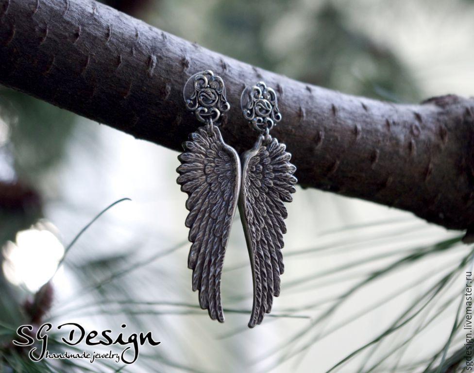 Earrings silver 'angel' with Wings, clove, wings, Stud earrings, Yalta,  Фото №1
