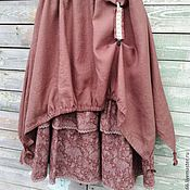 Одежда ручной работы. Ярмарка Мастеров - ручная работа №179 Юбка-бохо льняная длинная. Handmade.