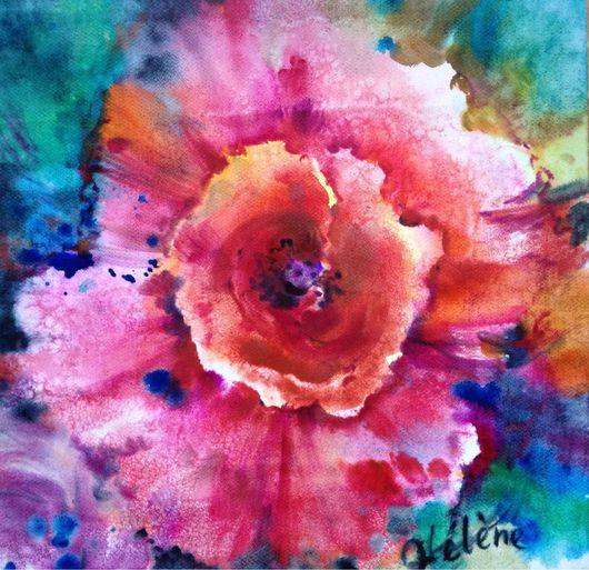 Картины цветов ручной работы. Ярмарка Мастеров - ручная работа. Купить Акварель бохо-мак. Handmade. Яркий цвет, мак