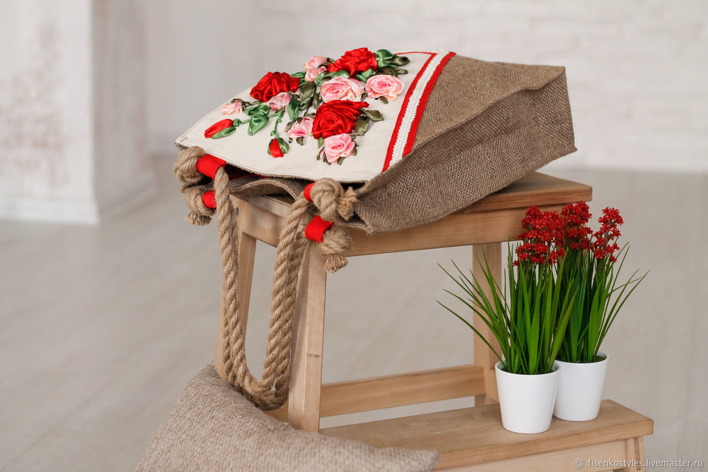 Эко-сумка_вышивка атласными лентами_Fisenko brand