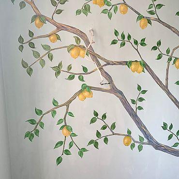 Картины и панно ручной работы. Ярмарка Мастеров - ручная работа Роспись стены «Лимонное дерево» 250 на 250 см. Handmade.
