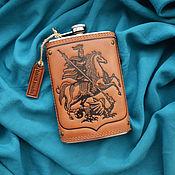 "Сувениры и подарки handmade. Livemaster - original item Leather flask ""SAINT GEORGE THE VICTORIOUS"". Handmade."