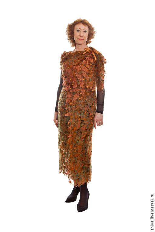 Жилеты ручной работы. Ярмарка Мастеров - ручная работа. Купить Платье-жилет Осенние листья ПРОДАНО. Handmade. Рыжий