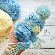 Куклы и игрушки handmade. Livemaster - original item Set cap and scarf for doll