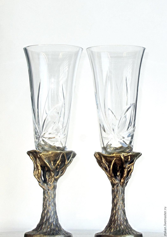 """Свадебные бокалы для шампанского на бронзовой вставке """"Чудо-дерево"""", Бокалы стаканы, Москва, Фото №1"""