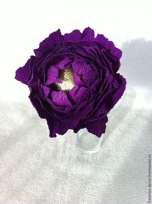 Букеты ручной работы. Ярмарка Мастеров - ручная работа. Купить Цветок с конфетой. Handmade. Фиолетовый, цветок, подарок на любой случай