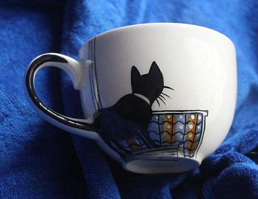 Сервизы, чайные пары ручной работы. Ярмарка Мастеров - ручная работа. Купить Кошка смотрит в окно - чайная пара (0894). Handmade.