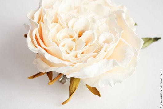 Заколки ручной работы. Ярмарка Мастеров - ручная работа. Купить заколка ВАНИЛЬНАЯ РОЗА. Handmade. Кремовый, английская роза