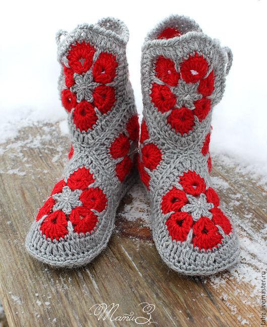 Обувь ручной работы. Ярмарка Мастеров - ручная работа. Купить Домашние сапожки серые с красным. Handmade. Серый